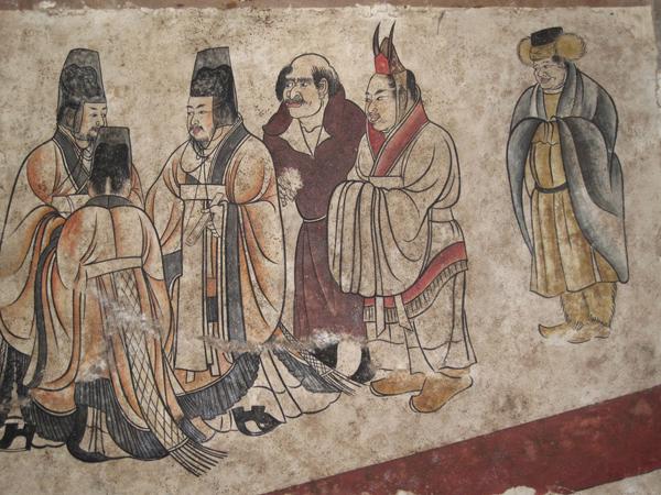 唐章怀太子墓道东壁《客使图》
