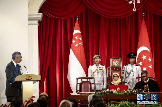 新加坡首位女總統就職 總理李顯龍出席儀式