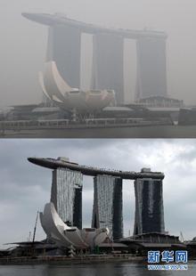 霧霾籠罩的濱海灣金沙